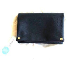 NWT black faux leather clutch/shoulder bag